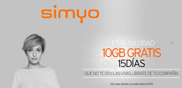 Simyo vuelve a regalar otro bono de 10 GB para consumir en Navidad