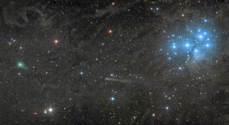 Two Comets With The Pleiades C Damian Peach