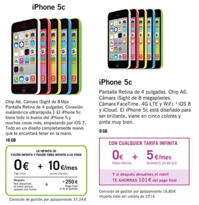 iPhone 5C con el leasing de Yoigo