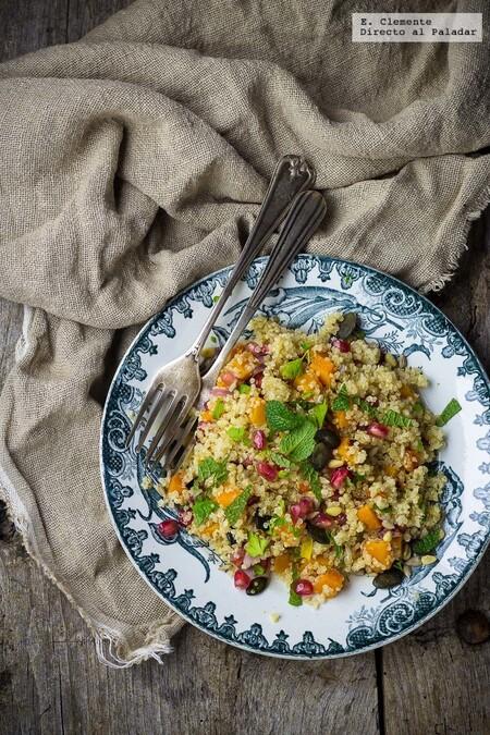 Quinoa, roasted pumpkin and pomegranate salad