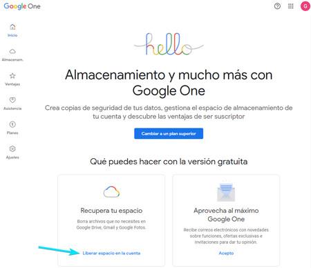Liberar Espacio Google One