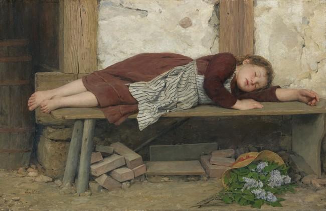 Albert Anker Schlafendes Madchen Auf Einer Holzbank