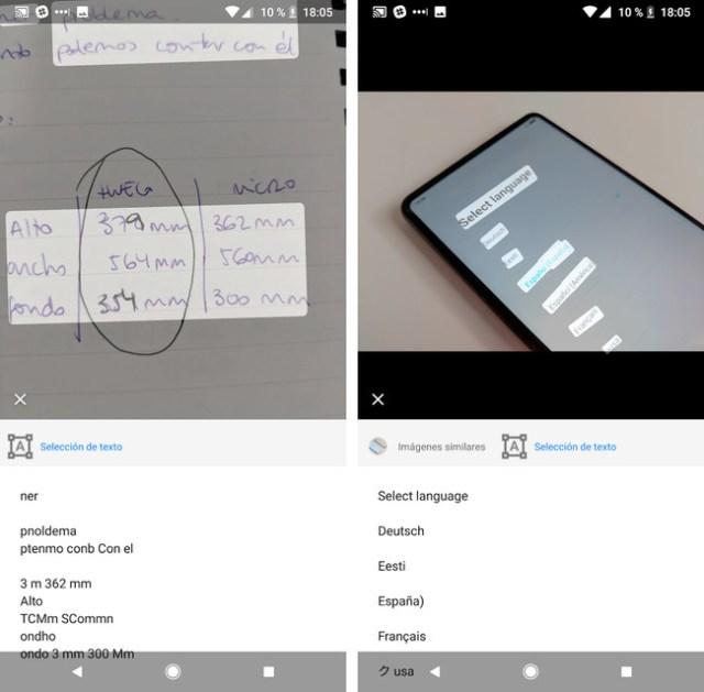 Google Lens Seleccion Texto