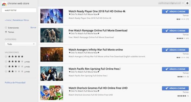 Permalink to No, la Chrome Web Store no ofrece ver películas online gratis: es una estafa