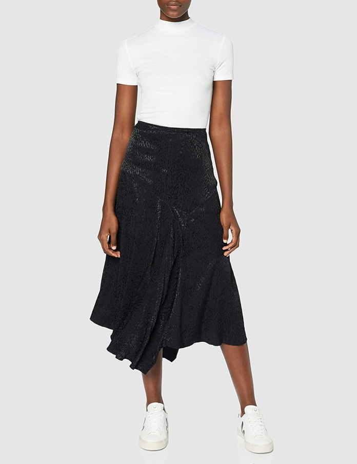 Amazon Brand - find.  Long Satin Asymmetric Skirt Woman