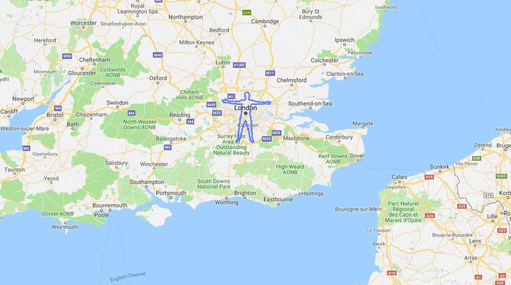 Un individuo camina mas de 300 kilómetros para inventar una gigantesa silueta de su cuerpo en Google® Maps
