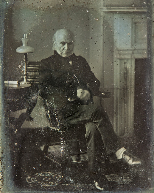 El fotografío presidencial más viejo hasta la fecha. Hecho por Philip Haas en Washington DC en 1843 a  John Quincy Adams.