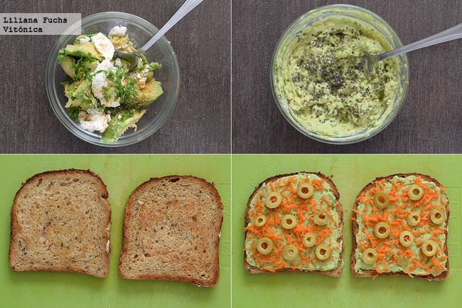 Tostas de crema de aguacate y queso con zanahoria marinada y anchoas. Receta saludable. Pasos