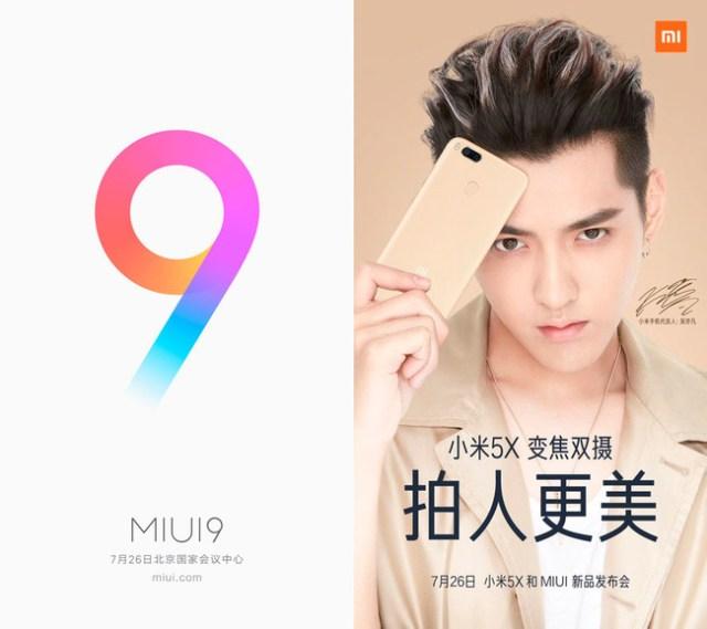 Miui nueve y Xiaomi Mi 5x veintiseis de julio