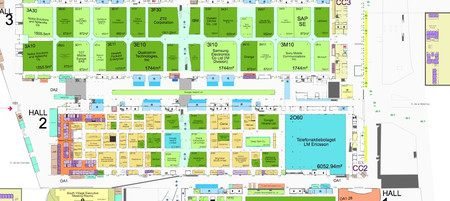 Mapa del Hall 2 del Mobile World Congress 2020, donde se ve el enorme tamaño del stand de Ericsson