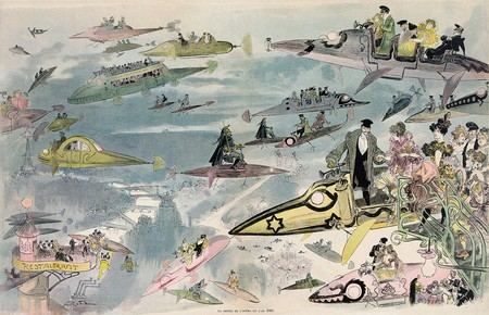 Leaving the opera in the year 2000, hand-coloured lithograph by Albert Robida