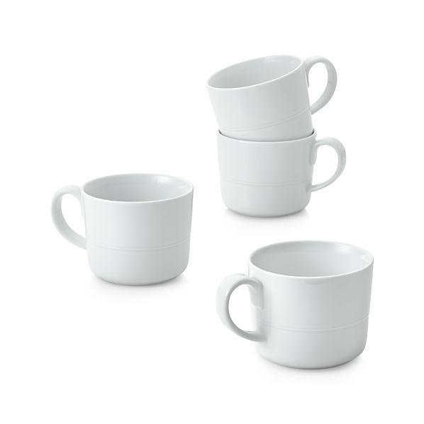 Set Of 4 Hue White Mugs Crate And Barrel