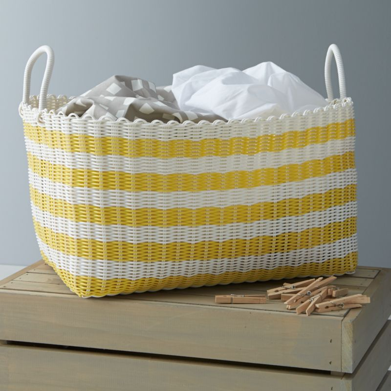 Yellow White Stripe Laundry Hamper Crate And Barrel