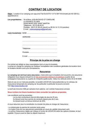 Modele Etat Des Lieux Camping Car Document Online