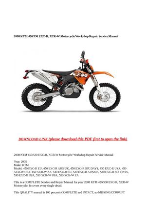 calaméo  2008 ktm 450/530 excr xcrw motorcycle workshop