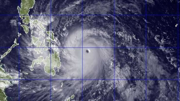 Government forecasters said Thursday that Typhoon Haiyan, shown via a satellite image, was packing sustained winds of 215 kilometres per hour and ferocious gusts of 250 km/h.