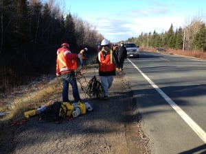 SWN workers remove geophones