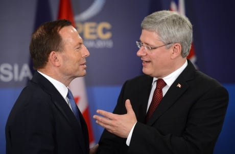 Australian PM Tony Abbott with Canadian PM Stephen Harper
