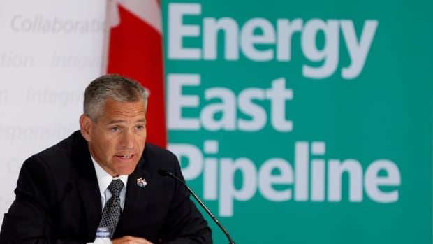 TransCanada CEO Russ Girling announces the company is moving forward with the 1.1 million barrel-per-day Energy East Pipeline project, at a news conference in Calgary, Aug. 1, 2013. A new report from environmental think-tank Pembina Institute believes Energy East would add 30 to 32 million tonnes of CO2 a year into the atmosphere.
