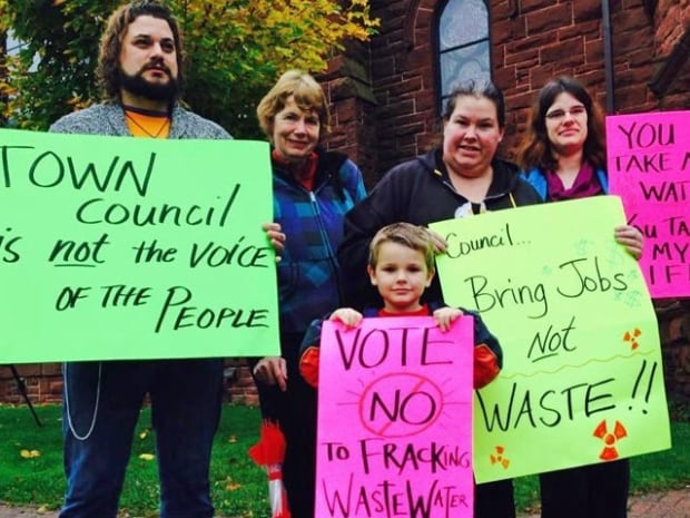 Many people at Friday's protest said they were upset that Amherst council was in talks with Atlantic Industrial Services to bring 30 million litres of treated wastewater to the town.