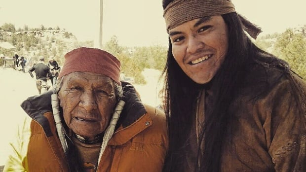 Saginaw Grant and Loren Anthony on the set of The Ridiculous Six.