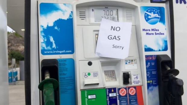 During the shortage, many gas stations across the province ran completely out of gas.