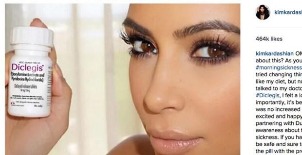 Kim Kardashian holds Diclegis