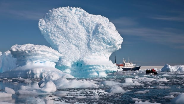 An inflatable boat carries tourists past an iceberg along the Antarctic Peninsula in 2009. Much larger icebergs in the region release a vast trail of iron and other nutrients that act as fertilizers for algae and other tiny plant-like organisms in the ocean.