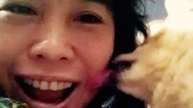 """One of my fave things that makes me happy: Panda licking my face! Even when her breath is pee-eww!"" - Sook-Yin Lee"