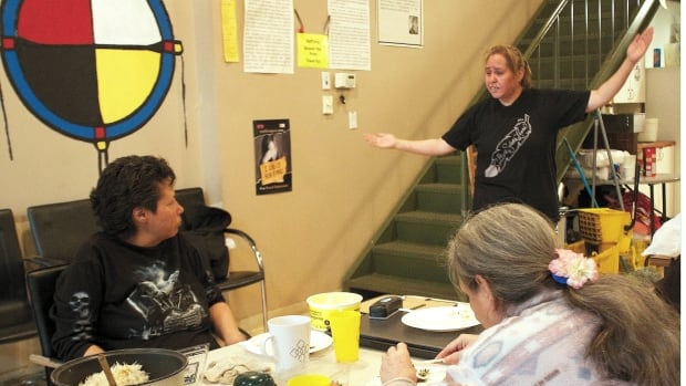 Nora Hanuse uses the medicine wheel to teach the women about balance at the Aboriginal Front Door Society.