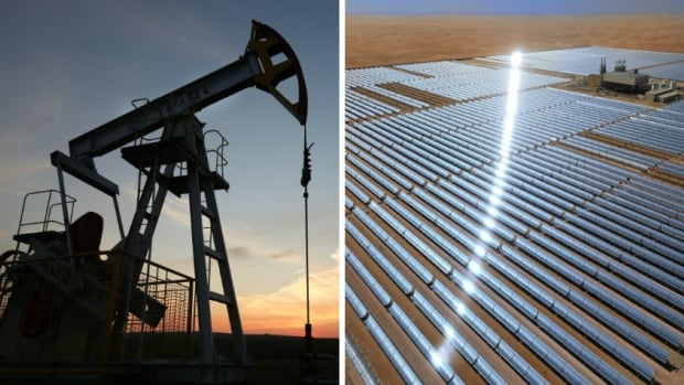 At left, an oil pumpjack in operation. At right, the Shams 1 concentrated solar power plant in Abu Dhabi. A federal government think-tank is projecting a fairly rapid shift toward renewables.