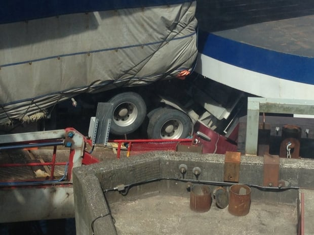 BC ferries truck stuck
