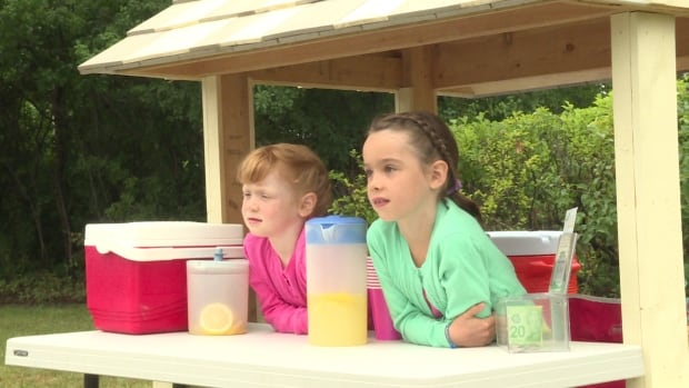 Adela Andrews, 5, (left) and her sister Eliza, 7, (right) received a permit from the National Capital Commission to sell lemonade this Sunday after being shut down last week for failing to have one.