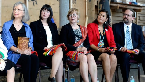 Marion Buller, Qajaq Robinson, Marilyn Poitras, Michele Audette and Brian Eyolfson, left to right, were at the Museum of History in Gatineau, Que., on Wednesday for the launch of the inquiry into murdered and missing Indigenous women and girls. The five have been named as commissioners of the inquiry.