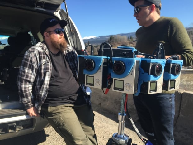 Cinematographer and editor Connor Illsley, left, and creative director Marty Flanagan used this special rig mounted with 10 GoPro cameras to shoot the documentary. (CBC)