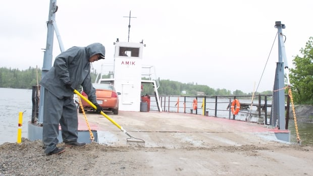 This ferry that connects Shoal Lake 40 with the outside world is now back in service. Chief Erwin Redsky is still waiting for the province to follow through on its commitment to help build a road.