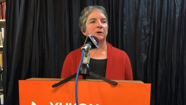 NDP candidate Jan Stick (Riverdale South) announced the party's platform on mental health care, in Whitehorse on Tuesday.