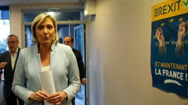 French far-right leader Marine Le Pen arrives in Nanterre on Nov. 9 to make a statement on the U.S. election. Le Pen was one of Europe's first nationalist leaders to congratulate president-elect Donald Trump.