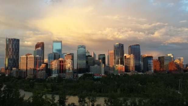 The skyline of downtown Calgary, as seen from the ridge above the north bank of the Bow River.