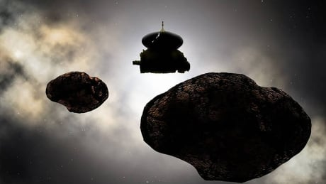 Artist's concept of NASA's New Horizons spacecraft flying by 2014 MU69 on Jan. 1, 2019