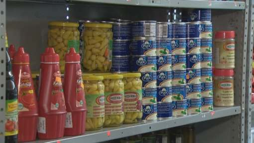 Stocked shelves inside Al-Hilal Meat Shop. (David Laughlin/CBC)