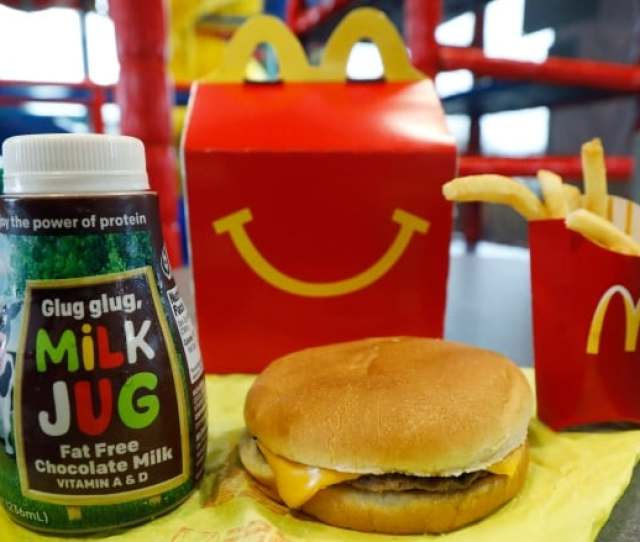 A Happy Meal With Chocolate Milk A Cheeseburger And Fries Is Arranged For A Photo At A Mcdonalds Restaurant In Brandon Miss
