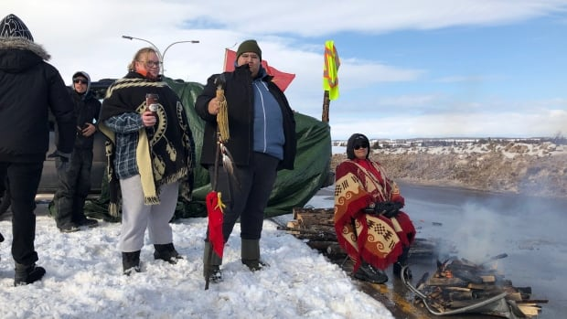 Protesters gather at the Confederation Bridge to support Wet'suwet'en hereditary chiefs