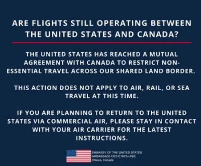 Canada and the U.S. are implementing the non-essential travel ban ...