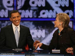 Sen. Barack Obama and Sen. Hillary Clinton participate in the televised CNN/LA Times/Politico Democratic Debate in January 2008.