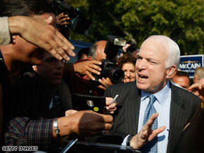 U.S. Sen. John McCain greets supporters during his campaign stop in West Palm Beach, Florida.