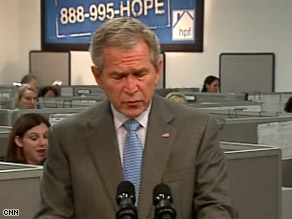 President Bush has had trouble with a housing relief hotline.