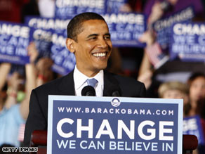Obama addresses supporters at a primary election night rally in Raleigh, North Carolina.