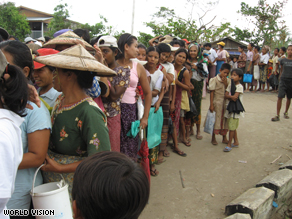 Waiting to receive aid