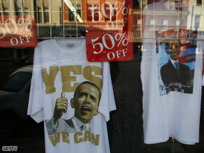 Shirts with the likeness of Democratic presidential candidate Senator Barack Obama offered for half price in a store window May 19, 2008 in Kentucky.
